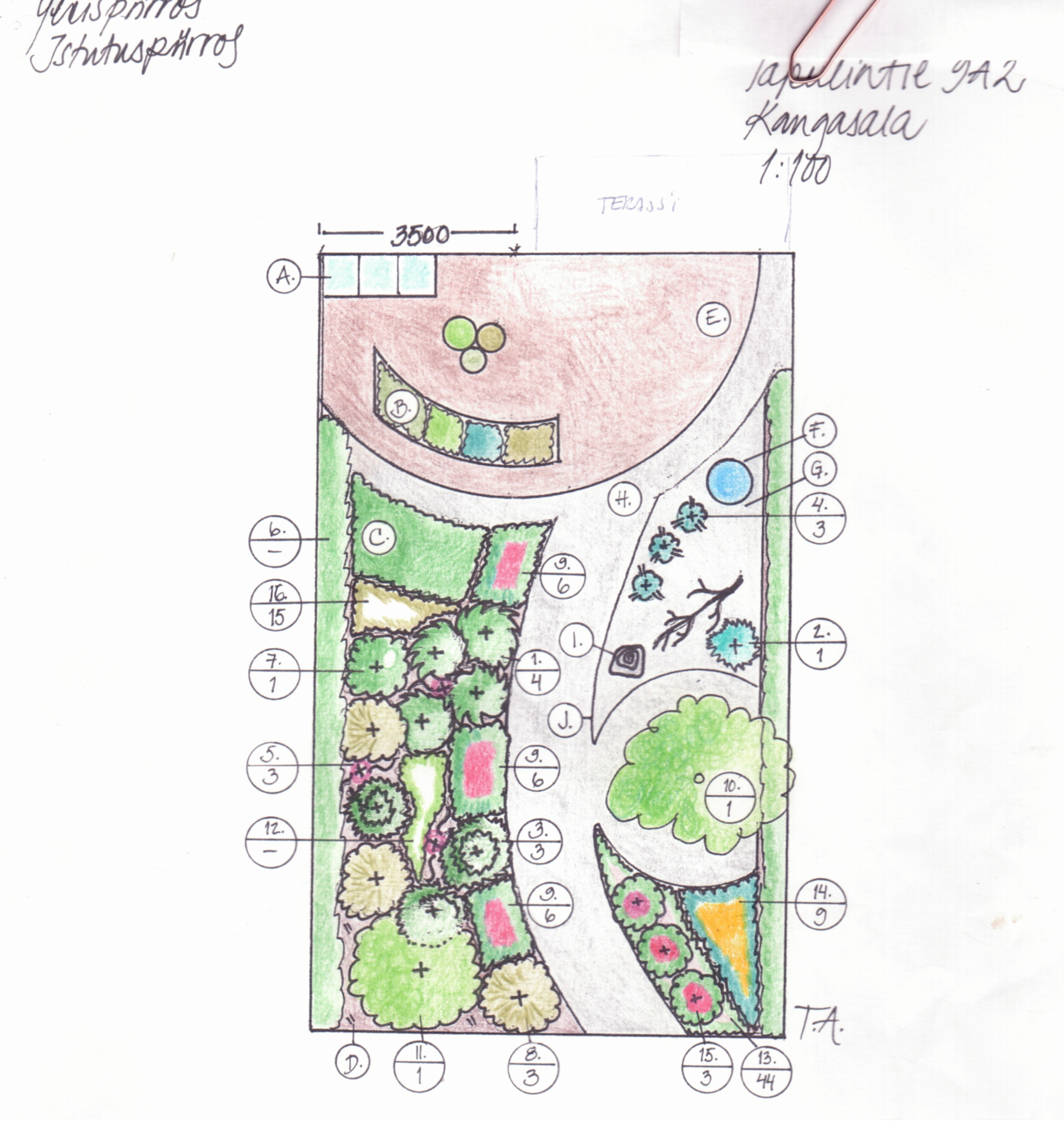 Puutarhasuunnitelma Istutuspiirros